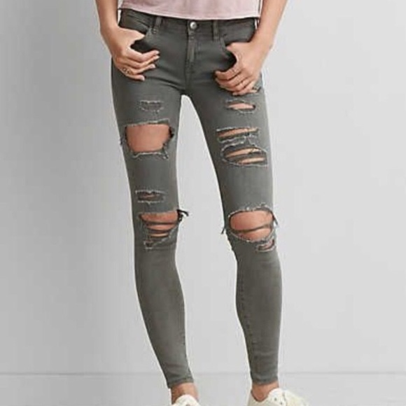 253e3307615dd American Eagle Outfitters Denim - WOMENS RIPPED OLIVE GREEN SKINNY JEANS